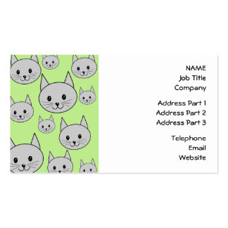 Cats Pattern in Green and Gray. Business Card Template