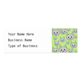 Cats Pattern in Green and Gray. Business Card Templates