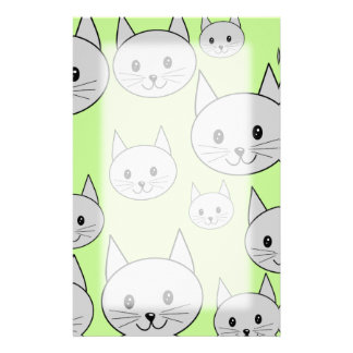 Cats Pattern in Green and Gray. Stationery Design