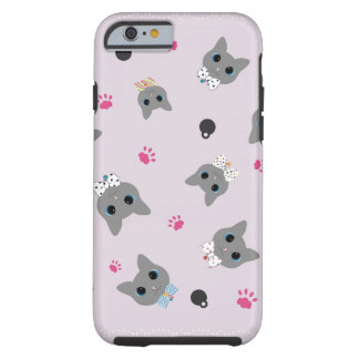 Cats pattern pink black and gray tough iPhone 6 case