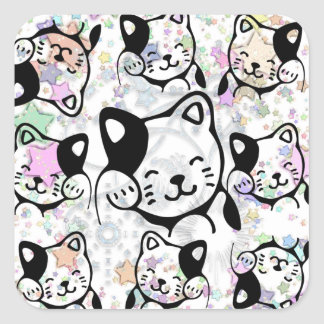Cats (patterned) square sticker