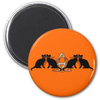 Cats Pentgagram Flame Triquetra 6 Cm Round Magnet