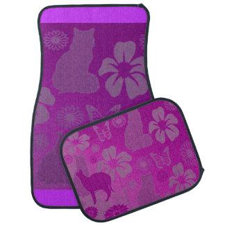 Cats Pet Butterfly Flowers Pink Pastels Floor Mat