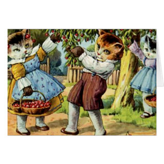 Cats Picking Cherries Card