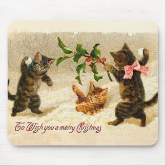 Cats playing in the snow Vintage Christmas Mouse Pad