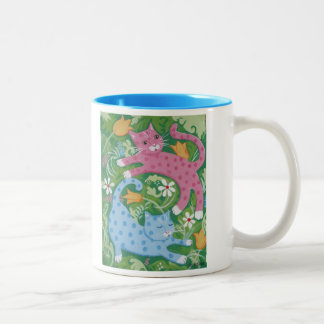 Cats Romp in a Garden Two-Tone Mug
