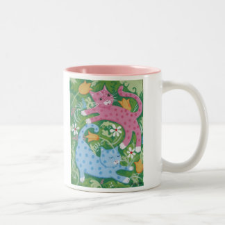 Cats Romp in a Garden Two-Tone Coffee Mug