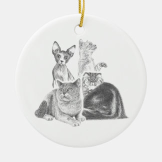 Cats Round Ceramic Decoration