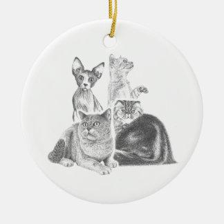 Cats Round Ceramic Decoration