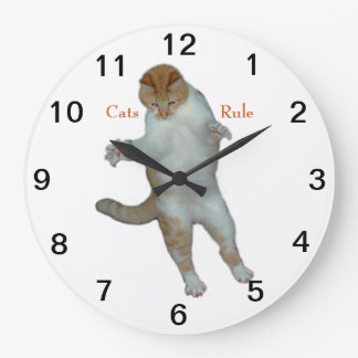 Cats Rule cats playing Wall Clock