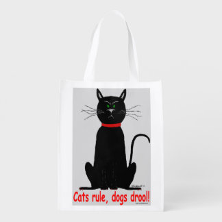 Cats rule! crabby black cat reusable grocery bag! grocery bags