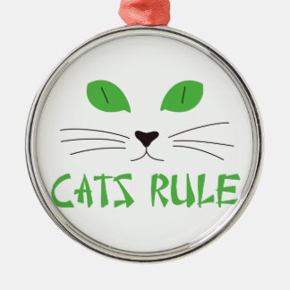 Cats Rule Silver-Colored Round Decoration
