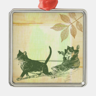 Cats Shoe Sled Silver-Colored Square Decoration
