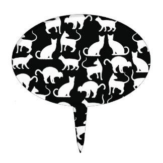 cats silhouette cake picks