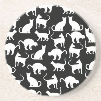 cats silhouette drink coaster