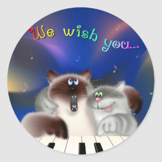 Cats Singing Christmas songs Round Sticker