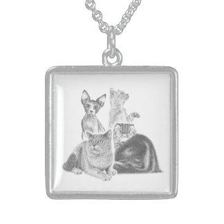 Cats Square Pendant Necklace