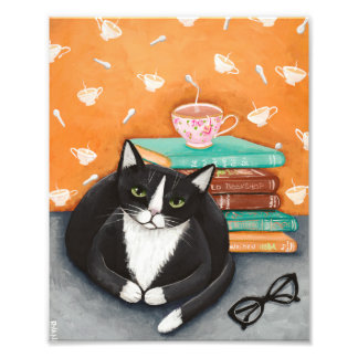 Cats, Tea, and Books Photo Print