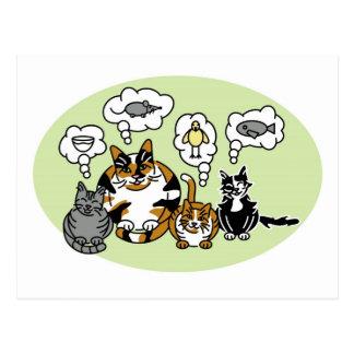 Cats Thinking Postcard