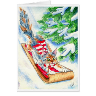 Cat's Toboggan Ride Card