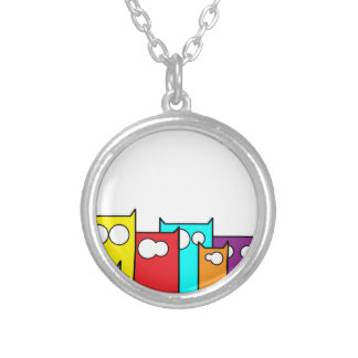 cats town silver plated necklace