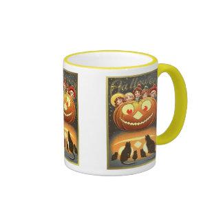 Cats Watching Kids and Pumpkin Halloween Mug