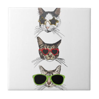 Cats Wearing Sunglasses Ceramic Tile