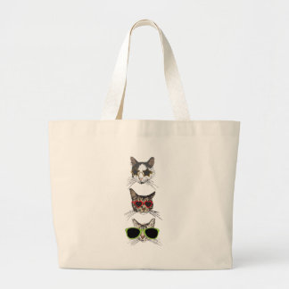 Cats Wearing Sunglasses Large Tote Bag