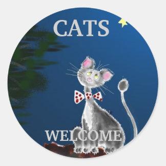 Cats Welcome Round Sticker