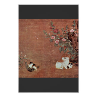 Cats With Boys In A Garden By Mao I (Best Quality) Poster