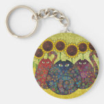 cats with sunflowers key chain