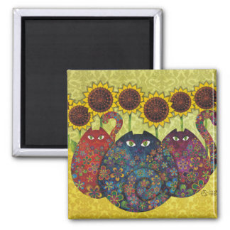 Cats With Sunflowers Fridge Magnets