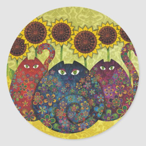 cats with sunflowers round sticker