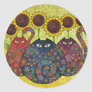 cats with sunflowers round stickers