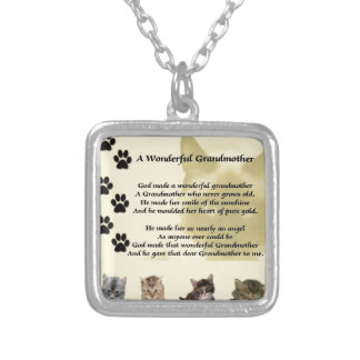 Cats - Wonderful Grandmother Poem Square Pendant Necklace