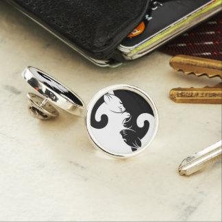 Cats yin yang lapel pin