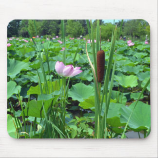 Cattail and Pink Flower Mouse Pad