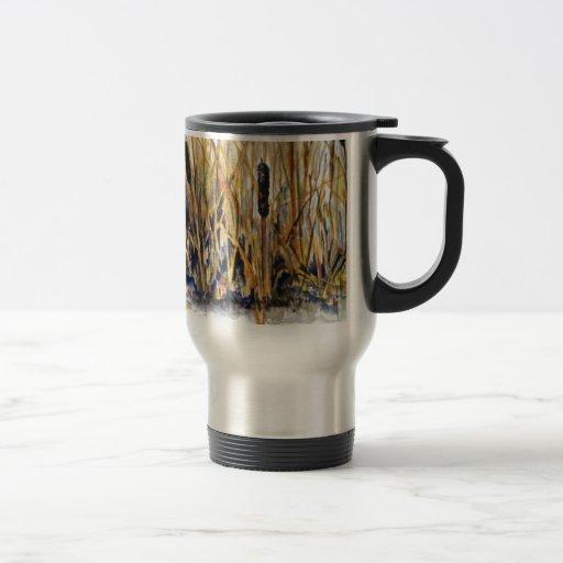 cattail watercolor mug
