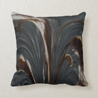 Cattails Abstract - Gray Throw Pillow