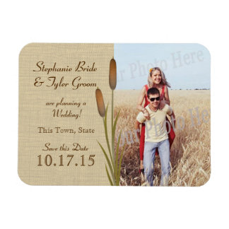 Cattails and Burlap Save the Date Photo Rectangular Photo Magnet