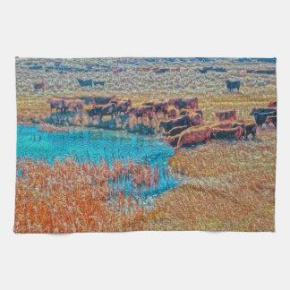 Cattails, Cattle and Sage Kitchen Towel Western