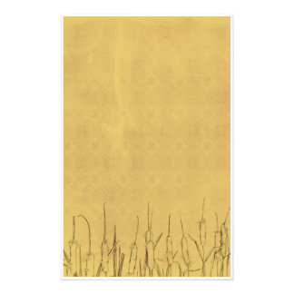 Cattails Pen and Ink Plants Drawing Stationery