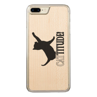 Cattitude with Cat in Silhouette Carved iPhone 8 Plus/7 Plus Case