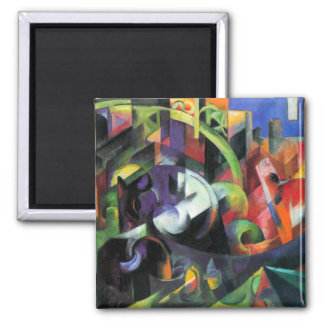 Cattle by Franz Marc, Vintage Abstract Fine Art Square Magnet