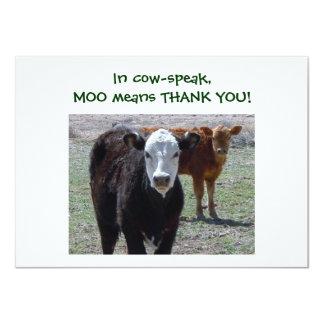 Cattle Calves - Western Thanks for Baby Gift 11 Cm X 16 Cm Invitation Card
