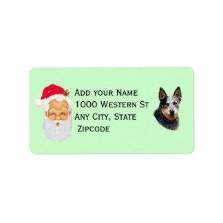 Cattle Dog w/Santa Claus Address Label