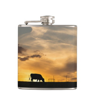 Cattle Sunset Silhouette Flask