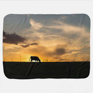 Cattle Sunset Silhouette Receiving Blankets
