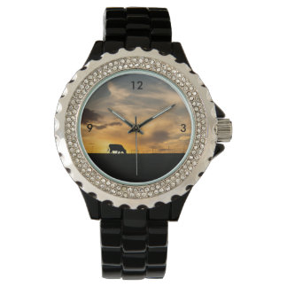 Cattle Sunset Silhouette Wrist Watch