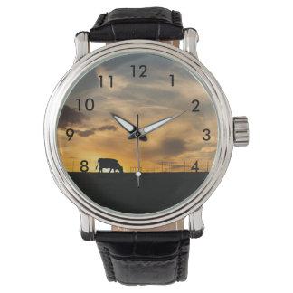 Cattle Sunset Silhouette Wristwatch